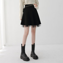 skirt Winter 2020 Average size black Short skirt commute High waist A-line skirt Solid color Type A 25-29 years old More than 95% knitting Qinyou polyester fiber Korean version Polyester 100% Pure e-commerce (online only)
