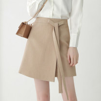 skirt Autumn of 2019 XS/26 S/27 M/28 L/29 XL/30 2XL/31 Brown Short skirt commute High waist A-line skirt Solid color Type A 25-29 years old More than 95% Qinyou polyester fiber Frenulum Korean version Polyester 100% Pure e-commerce (online only)