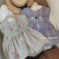 Dress Purple, green female Other / other 80cm,90cm,100cm,110cm,120cm Cotton 100% summer Korean version Skirt / vest lattice cotton Vest skirt Class B 12 months, 18 months, 2 years old, 3 years old, 4 years old, 5 years old, 6 years old, 7 years old Chinese Mainland