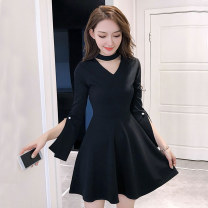 Dress Summer of 2018 Black apricot S M L XL Short skirt singleton  elbow sleeve commute V-neck middle-waisted Solid color Socket A-line skirt other Others 18-24 years old Type A Korean version More than 95% brocade polyester fiber Other polyester 95% 5% Pure e-commerce (online only)