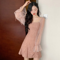 Dress Autumn of 2019 Rubber powder apricot M L Short skirt singleton  Long sleeves commute V-neck High waist Solid color Socket A-line skirt bishop sleeve camisole 18-24 years old Princess Jenna Gauze JNF36053# More than 95% brocade polyester fiber Other polyester 95% 5% Pure e-commerce (online only)
