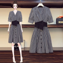 Women's large Summer 2021 stripe Large XL, large XXL, large XXL, large XXXXL, large L Dress Fake two pieces commute thin Cardigan Short sleeve polyester 6605# 25-29 years old