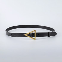 Belt / belt / chain Double skin leather Black, white, red, camel, coffee female belt Versatile Single loop Youth, middle age Pin buckle Glossy surface Glossy surface alloy alone Type cattle 2cm triangle buckle 616
