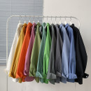 shirt Haze blue fruit green good-looking gray black white blue orange red yellow pink fluorescent green light blue dark gray M L XL 2XL 3XL 4XL 5XL Spring 2021 cotton 96% and above Long sleeves other Regular square neck Single row multi button routine Solid color 18-24 years old Straight cylinder