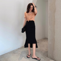 skirt Summer 2020 S M L black Mid length dress High waist 18-24 years old MYNZ59953 81% (inclusive) - 90% (inclusive) Fanlike woman cotton Cotton 88.9% polyester 11.1% Pure e-commerce (online only)