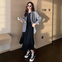 skirt Spring 2021 S M L Black (within 7 days) Mid length dress commute High waist Pleated skirt Solid color Type A 25-29 years old MYNZ59688-1 81% (inclusive) - 90% (inclusive) Fanlike woman cotton Asymmetry Korean version Cotton 89.9% polyester 10.1% Pure e-commerce (online only)