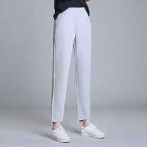 Casual pants Gray white black green S M L XL 2XL 3XL 4XL 5XL Summer 2020 Ninth pants Wide leg pants High waist commute Thin money 25-29 years old 31% (inclusive) - 50% (inclusive) YDE202050932 One butterfly Korean version pocket Other 100% Pure e-commerce (online only)