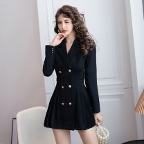 Dress Spring 2021 black S,M,L,XL,2XL Short skirt singleton  Long sleeves commute tailored collar High waist Solid color double-breasted A-line skirt routine Others 18-24 years old Type A Korean version Button A 31% (inclusive) - 50% (inclusive) polyester fiber