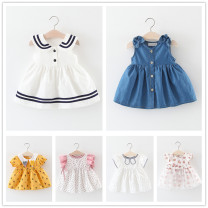 Dress female Other / other 66cm,73cm,80cm,85cm,90cm,95cm,100cm,105cm Cotton 90% polyester 10% summer princess Skirt / vest cotton Splicing style Q1905160 12 months, 6 months, 9 months, 18 months, 2 years, 3 years, 4 years
