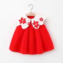 Dress Pink, red female Other / other 66cm,73cm,80cm,85cm,90cm,95cm,100cm Cotton 95% polyester 5% summer princess Skirt / vest Solid color cotton Splicing style LYQ20210315 Class A 12 months, 6 months, 9 months, 18 months, 2 years, 3 years, 4 years Chinese Mainland