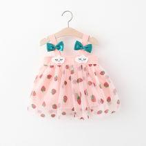 Dress Pink, off white female Other / other 66cm,73cm,80cm,85cm,90cm,95cm,100cm Cotton 94% polyester 6% summer princess Skirt / vest cotton Splicing style 12 months, 6 months, 9 months, 18 months, 2 years, 3 years, 4 years