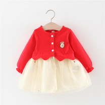 Dress Pink, red, navy female Other / other 66cm,73cm,80cm,85cm,90cm,95cm,100cm Cotton 94% polyurethane elastic fiber (spandex) 6% spring and autumn princess Long sleeves Solid color cotton Splicing style Q1907310 Class A 12 months, 6 months, 9 months, 18 months, 2 years, 3 years