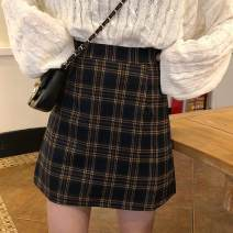 skirt Spring of 2019 S,M,L Black and white, yellow Short skirt commute High waist A-line skirt lattice Type A 18-24 years old 91% (inclusive) - 95% (inclusive) other Other / other polyester fiber Korean version