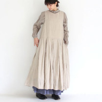 Dress Spring of 2018 S,M,L Mid length dress Sleeveless middle-waisted Solid color Type A Other / other More than 95% hemp