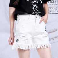 Jeans Autumn of 2019 8086 white, 8086 black, 8886 black 26,27,28,29,30,31 shorts High waist Straight pants Thin money 18-24 years old Worn out, washed 8086/8886