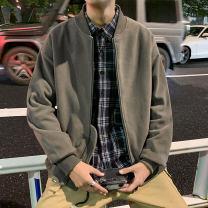 Jacket VUUG Youth fashion Grey blue Khaki 045 dark grey 045 blue 045 light grey M L XL 2XL 3XL routine easy Other leisure spring V-W0102L1011-X10102 Polyester 100% Long sleeves Wear out Baseball collar tide youth routine Zipper placket Rib hem No iron treatment Closing sleeve Solid color Spring 2021
