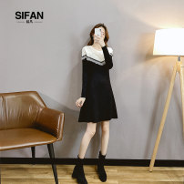 Dress Spring 2021 black S M L XL longuette singleton  Long sleeves commute Crew neck High waist Solid color Socket A-line skirt routine Others 25-29 years old Si fan Korean version Splicing More than 95% knitting other Other 100% Exclusive payment of tmall