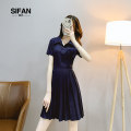 Women's large Summer 2020 Navy Blue Large L Large XL s M singleton  commute Short sleeve Solid color Korean version V-neck other routine Si fan 18-24 years old Button 96% and above Short skirt Other 100% Pure e-commerce (online only) Pleated skirt