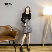 Dress Autumn 2020 black S M L XL Short skirt singleton  Long sleeves commute Crew neck High waist lattice Socket A-line skirt routine Others 25-29 years old Type A Si fan Korean version Splicing SFZFX79087 More than 95% knitting other Other 100% Pure e-commerce (online only)