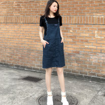 Jeans Summer 2021 Single skirt, skirt + white short T, skirt + black short T S,M,L,XL High waist Flared trousers routine 18-24 years old Button, multi pocket, badge, wash other Dark color 31% (inclusive) - 50% (inclusive)