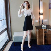 Dress Autumn of 2018 Black and white color matching SML Short skirt singleton  elbow sleeve commute Crew neck High waist Solid color zipper Princess Dress pagoda sleeve Others 25-29 years old Enigmatic M8795_ 02 Polyester 100% Pure e-commerce (online only)