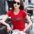 T-shirt Red, black, white S,M,L,XL,2XL,3XL Summer 2021 Short sleeve Crew neck Self cultivation Regular routine commute cotton 86% (inclusive) -95% (inclusive) Korean version classic Pinge Dixin Diamond inlay