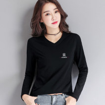T-shirt M,L,XL,2XL,3XL,4XL Spring 2021 Long sleeves V-neck Self cultivation Regular routine commute cotton 86% (inclusive) -95% (inclusive) Korean version classic
