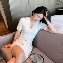 Dress Spring 2021 White, black S,M,L Middle-skirt singleton  Short sleeve commute V-neck High waist Solid color Socket One pace skirt other Others 25-29 years old Type H Britain More than 95% knitting other