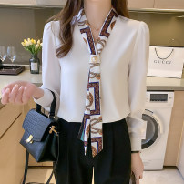 Lace / Chiffon Spring 2020 White, green, black S,M,L,XL,2XL Long sleeves commute Socket Two piece set easy Regular stand collar Solid color bishop sleeve 6305# bow Korean version