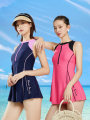 one piece  Hosa / Haosha M L XL 2XL Dark blue pink black 103 black 103 jujube 103 dark blue Skirt one piece With chest pad without steel support Nylon spandex Summer of 2019 no female Sleeveless Casual swimsuit Solid color backless