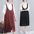 Dress Summer 2021 Black, maroon L,XL,2XL Mid length dress singleton  Sleeveless commute Loose waist Solid color Socket other straps 25-29 years old Type A literature Strap, button 81% (inclusive) - 90% (inclusive) cotton