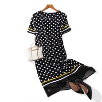 Dress Summer 2021 black L suggests about 110 kg, XL suggests about 125 kg, XXL suggests about 135 kg, 3XL suggests about 150 kg, 4XL suggests about 160 kg Middle-skirt singleton  Short sleeve street Crew neck Loose waist Dot Socket A-line skirt routine Breast wrapping Type A Other / other Chiffon
