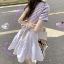 Dress Summer of 2019 Striped Top + white skirt S M L XL Middle-skirt Two piece set Short sleeve Sweet Crew neck High waist stripe Socket Ruffle Skirt routine Others 18-24 years old Type H Jane simmer Bowtie More than 95% other other Other 100% Countryside Pure e-commerce (online only)