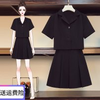 Women's large Summer 2021 black Large XL, large XXL, large XXL, large XXXXL, large L, M Two piece set commute easy moderate Short sleeve Solid color Korean version polyester four point zero five 25-29 years old 81% (inclusive) - 90% (inclusive) Short skirt Pleated skirt