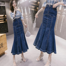 skirt Spring 2020 S M L XL 2XL blue longuette Versatile Natural waist Ruffle Skirt Solid color Type A 25-29 years old SMNGT45523678 71% (inclusive) - 80% (inclusive) Denim Simina / Sun Mina cotton Ruffle pocket, button, zipper, decorative stitching, swallow tail Cotton 75% polyester 22% others 3%