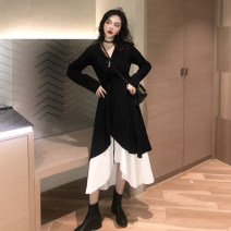 Dress Autumn of 2019 Black dress with suspender S M L XL Mid length dress Two piece set Long sleeves commute V-neck High waist Solid color Irregular skirt routine camisole 18-24 years old Type A Gudie / gudie Retro Asymmetric stitching of ruffles More than 95% other Other 100%
