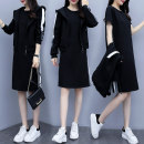 Women's large Spring 2020, winter 2020, autumn 2020 Black [two piece set], single top M (within 100 kg recommended), l [100-120 kg recommended], XL [120-140 kg recommended], 2XL [140-160 kg recommended], 3XL [160-180 kg recommended], 4XL [180-200 kg recommended] Two piece set commute easy moderate