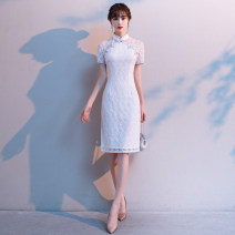 cheongsam Autumn 2020 S M L XL XXL XXXL white Short sleeve Short cheongsam Retro Low slit daily double-breasted  Solid color 18-25 years old Piping QDM2206 Xianduo honey other Other 100% Pure e-commerce (online only)