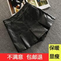skirt Winter 2020 M L XL 2XL 3XL 4XL black Short skirt Versatile High waist High waist skirt Solid color A7956 More than 95% European Academy other PU