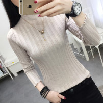 sweater Autumn of 2019 S M L XL Gray Caramel Khaki white black Long sleeves Socket singleton  have cash less than that is registered in the accounts other 95% and above Half high collar Regular commute routine Solid color Self cultivation Regular wool Keep warm and warm 25-29 years old SF593