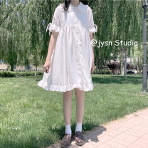 Dress Summer 2021 white Average size Mid length dress singleton  Short sleeve Sweet Doll Collar Loose waist Solid color Single breasted A-line skirt puff sleeve 18-24 years old Type A 51% (inclusive) - 70% (inclusive) other cotton solar system
