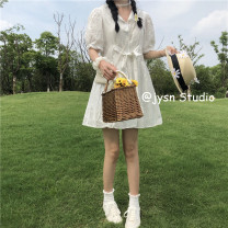 Dress Summer 2021 Picture color Average size Middle-skirt singleton  Short sleeve Sweet Polo collar middle-waisted Solid color Single breasted A-line skirt puff sleeve 18-24 years old Type A Frenulum 81% (inclusive) - 90% (inclusive) other solar system