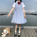 Dress Summer 2021 Blue pleated skirt, shirt (with bow) Average size Mid length dress Two piece set Sleeveless Sweet High waist Solid color Socket Pleated skirt straps 18-24 years old Type A bow 30% and below other other college