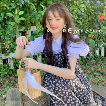 Fashion suit Summer 2021 Average size Black strap skirt, white shirt with bubble sleeve, pink strap skirt, black suit, pink suit 18-25 years old