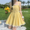 Dress Summer 2021 Middle-skirt singleton  Sleeveless Sweet square neck High waist lattice Condom A-line skirt routine camisole 18-24 years old Type A 3153 solar system S,M,L yellow