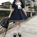 Dress Summer 2021 Picture color Average size Middle-skirt singleton  Short sleeve Sweet Admiral High waist Solid color Socket A-line skirt routine 18-24 years old Type A bow 81% (inclusive) - 90% (inclusive) other polyester fiber college
