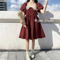 Dress Summer 2021 Picture color Average size Middle-skirt singleton  Short sleeve Sweet square neck High waist Solid color Socket Princess Dress puff sleeve 18-24 years old Type A bow 81% (inclusive) - 90% (inclusive) other solar system