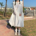 Dress Spring 2021 White fairy Average size Mid length dress singleton  Long sleeves Sweet Doll Collar Loose waist Solid color Cake skirt routine 18-24 years old Type A 81% (inclusive) - 90% (inclusive) other other college