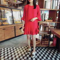 Dress Summer of 2018 Red [in stock] S,M,L,XL Mid length dress singleton  three quarter sleeve commute Crew neck Loose waist Solid color Socket Ruffle Skirt pagoda sleeve Others 25-29 years old Korean version