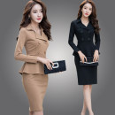 Dress Winter 2016 Black long sleeve Khaki Long Sleeve Black Short Sleeve Khaki Short Sleeve S XL L M 2XL Middle-skirt singleton  Long sleeves commute tailored collar middle-waisted Solid color double-breasted Pencil skirt routine Others 25-29 years old Type X Mo Ge Shang language Ol style MGSY8106